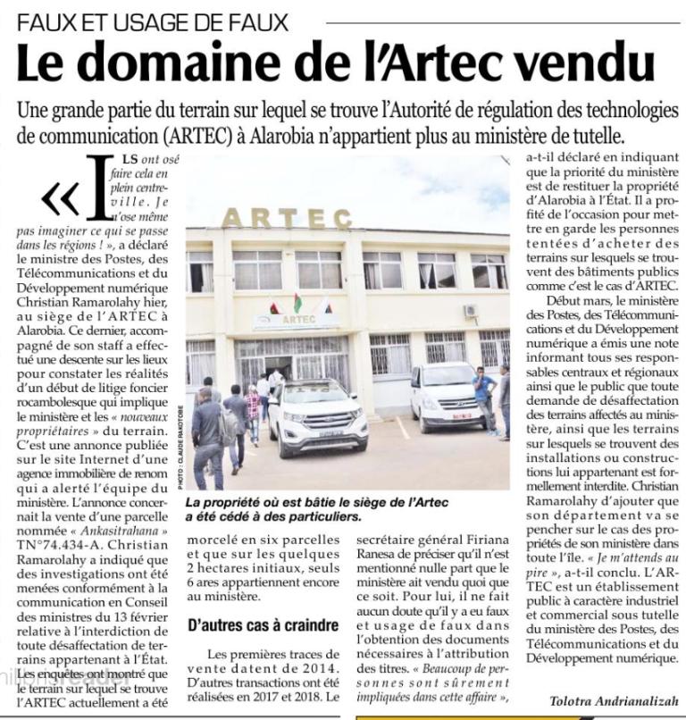 Prescription ? Le domaine de l'ARTEC a été déjà vendu en 2014 et ce n'est qu'au mois de mars 2019 qu'on s'est rendu compte – Expressmada du 12 mars 2019