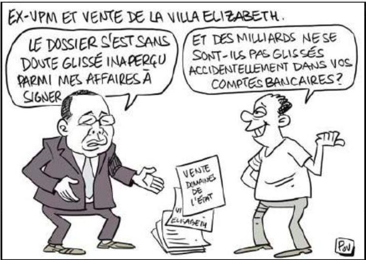 L'ancien vice premier ministre Julien REBOZA a signé l'acte de vente du Villa Elisabeth en date du 24 janvier 2014, l'affaire n'a été découverte que le 24 octobre 2017 – 9 avril 2019