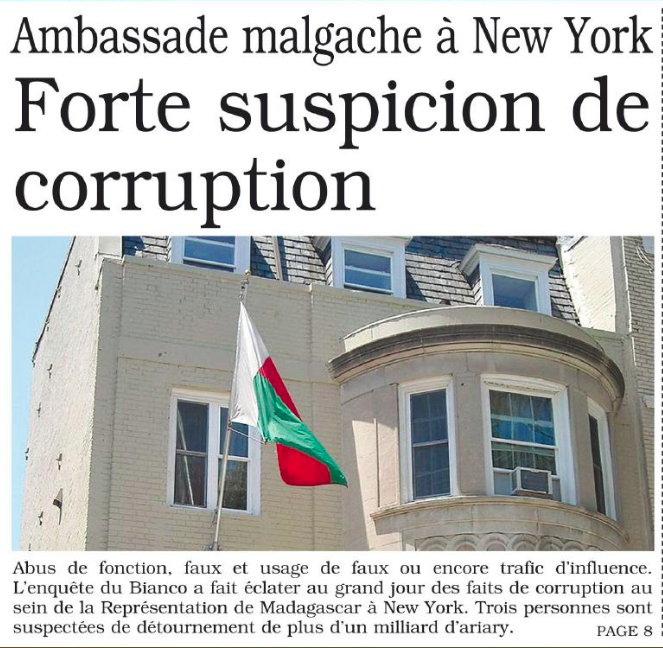 Suspicion de corruption à l'ambassade malgache de New York – Les faits remontent à 2007 mais la plainte n'a été déposée qu'en 2014 – Les nouvelles du 18 mai 2019