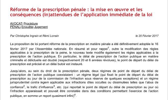 un régime jurisprudentiel contra legem applicable aux infractions dites occultes ou dissimulées telles que l'abus de confiance qui reporte le point de départ du délai de prescription